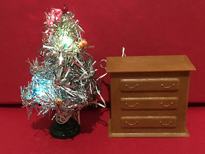 Dollhouse Miniature Vintage Silver Christmas Tree w/ Battery Cabinet 1:12 scale