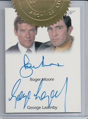 James Bond Heroes & Villians, Roger Moore / George Lazenby Dual Autograph Card