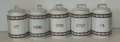 Antique German Ceramic kitchen canister set - Rare and in good condition