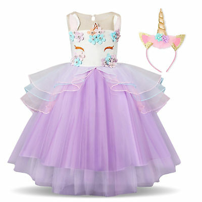 ef8d00ec84b91 2 PC Children's Girls' 8-Layer Flower Unicorn Costume Tutu Dress w/ Headband
