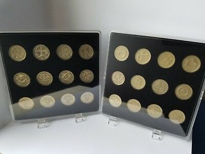 ACRYLIC COIN DISPLAY CASES (2 pcs) for round 1 pound coins (2x12 slots).no coins
