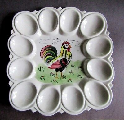 Square Deviled Egg  Plate Platter with Rooster  Italy