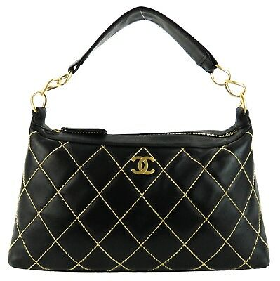 ef7393434296 CHANEL BLACK LEATHER Contrast Stitch Surpique Shoulder Bag ...