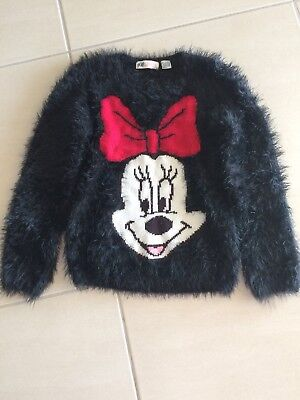 Girls Minnie Mouse Size 7-8 Fluffy Black Jumper