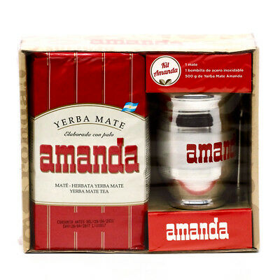 Amanda Yerba Mate Tea Aluminium Kit - 500g tea, cup & straw Made in Argentina