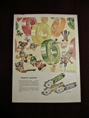"Disney Art LIFESAVERS WWII Ad 1943 - ""Gremlin Chasers"""""