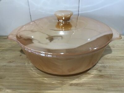 Vintage Anchor Hocking Peach Lustre Casserole Dish