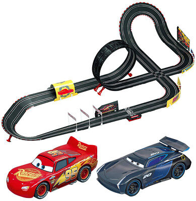 Kids Cars 3 Racing Track Toy With Lightning McQueen and amp; Jackson Storm Gift