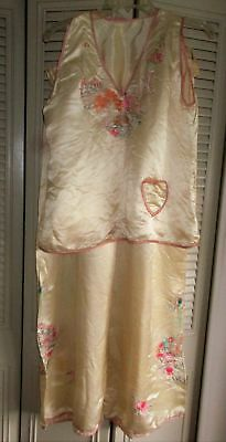 ANTIQUE HM 1940s CHINESE SILK SATIN PAJAMAS~CANTON HAND EMBROIDERY~AS IS~M/L