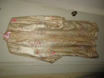 ANTIQUE HM 1940s CHINESE SILK  DRESSING ROBE/KIMONO~CANTON EMBROIDERY~M/L~AS IS