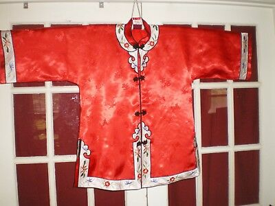 NICE Old Chinese Red Damask Silk Jacket/Robe w/Embroidered Floral Trim Sz XXL