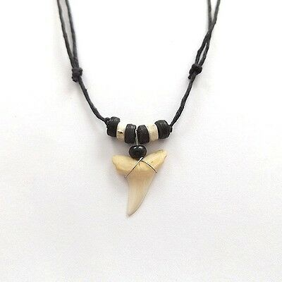 Real Sharks Tooth Surf Style Necklace White Dente Tuberao Slip Knot Adjustable.