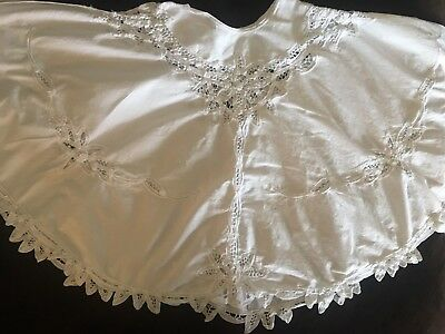 """Shabby Chic TREE SKIRT 48"""" Round Lace Crotched White Cottage Christmas Holiday"""