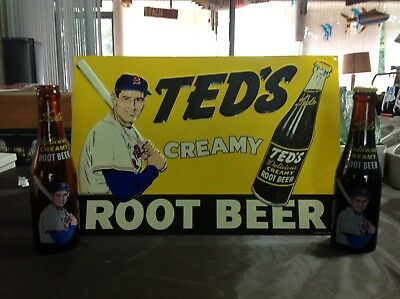 Ted's Root Beer Embossed Tin Tracker Sign w/ Two Bottles One Full One Empty