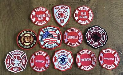 LOT OF 12 Illinois Fire Department Patches IL Firefighter Rescue EMS #1