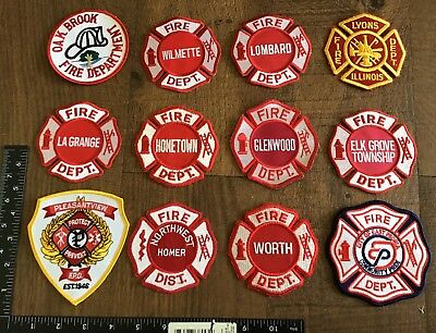 LOT OF 12 Illinois Fire Department Patches IL Firefighter Rescue EMS #3