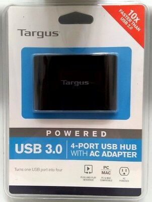 Targus 4-Ports USB 3.0 SuperSpeed External Hub AC Adapter 5ft Cable ACH119US NEW