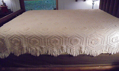 Antique coverlet Vintage Full Hand crocheted cotton Gorgeous!  EXC