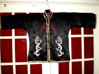NICE Antique Chinese Black Silk Jacket/Robe w/Embroidered Dragons & Pearls