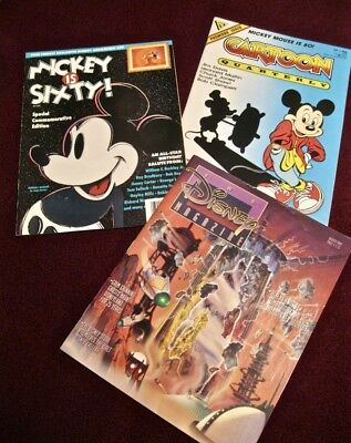 """3 Disney Mags - Alien Encounter, Mickey Mouse is 60 """"Cell"""", Cartoon Quarterly"""