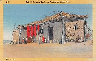 B9080 Chili Red Pepper Drying Adobe Home - 1934 Linen Postcard Teich No. 4A-H939