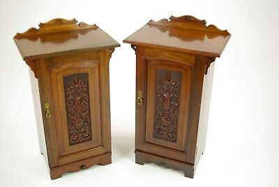Antique Nightstands, Pair of Nightstands, Walnut, Lamp Tables, 1870, B1205,B1206
