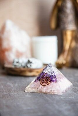 Orgone Pyramid With Rose Quartz, Amethyst and Clear Quartz - Orgonite Pyramid