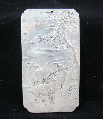 Collectable Handmade Carved Statue Tibet Silver Amulet Pendant Three Sheep