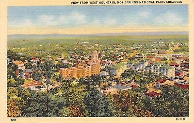 C024 View from West Mountain, Hot Springs AR - 1935 Linen PC Teich No. 6A-H1001
