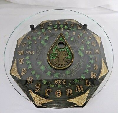 Black Cat Crescent Moon Ouija Board Planchette Glass Top Paranormal Witch Wicca