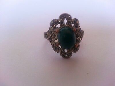 Rare Ancient Roman Bronze Authentic Ring With Green Stone