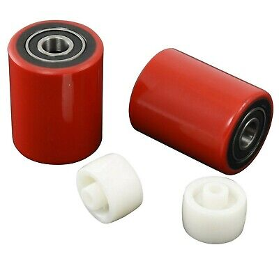 Brand New Pallet Jack Load Wheels Pair Poly with Bearings & Entry/Exit Roller