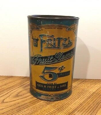 Early Tin Litho Fritz's Fruit Gems Candy 5lb General Store Product Can Newark NJ