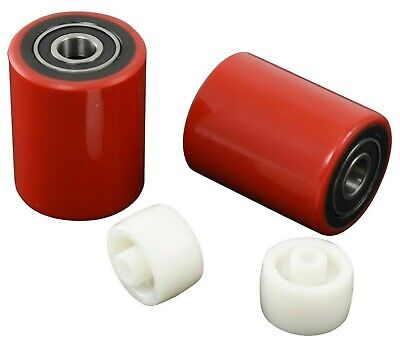 Brand New Pallet Jack Load Wheels Pair 2.75x3.75 Poly w Bearings & Entry/Roller