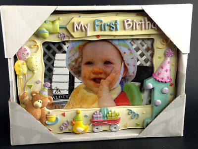 "Baby's My First Birthday 3D Picture Frame 4"" x 6"" Photo Teddy Bear Balloons etc"
