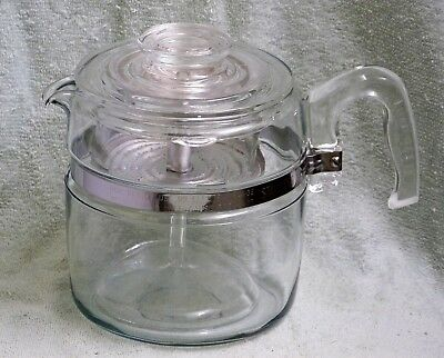 PYREX 7756 COFFEE PERCOLATOR 1957 COMPLETE 6 Cup Pot EXCELLENT SHIPS FREE