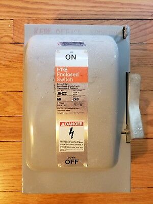 GOULD ITE JN422 Safety Switch 60 Amp 240 Volt 3 Phase Fusible Disconnect