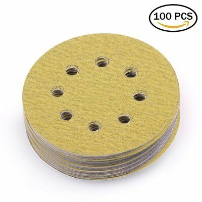 5in 80 Grit 8 Holes Sanding Discs Sander Pad Sheet Orbital Sandpaper Hook & Loop