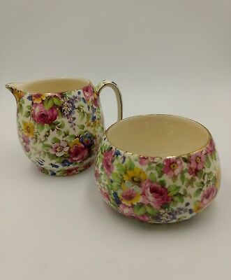 Royal Winton Grimwades England Summertime Chintz Creamer & Sugar Vintage Pieces