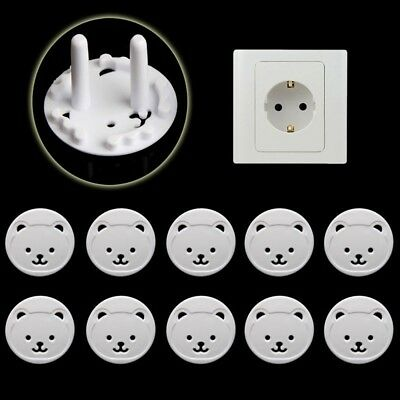 10Pcs Bear EU Power Kid Socket Cover Baby Child Protector Guard Mains Point Plug