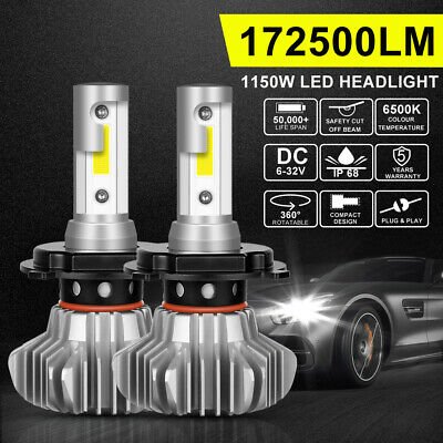 2x H4 HB2 9003 1150W 172500LM LED Headlight Hi/Low Beam Globes Bulbs 6500K White