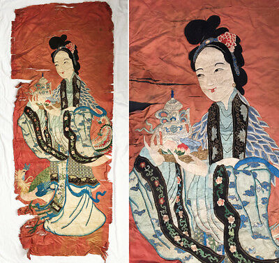 """Large Antique c. 1900's Chinese Embroidered Immortal Appliqué Silk Panel  - 72"""""""