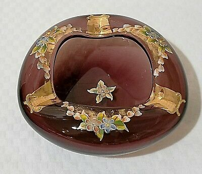 Antique Vintage Moser Amethyst Purple Hand Blown & Painted/Enamel Ashtray NICE!!