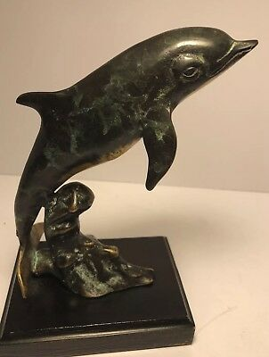 SPI San Pacific Int'l San Francisco Brass Dolphin Statue Verdes Green B12