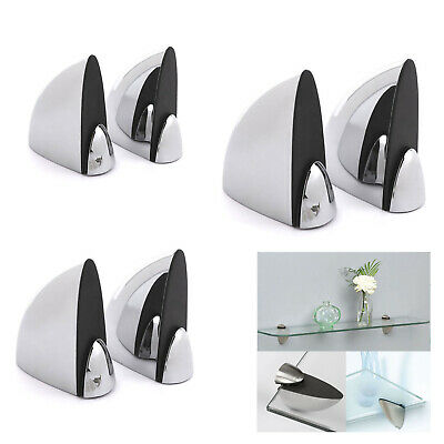 Two Pairs Glass Shelf Support Clamps Clips Brackets Zinc Alloy Chrome Polished