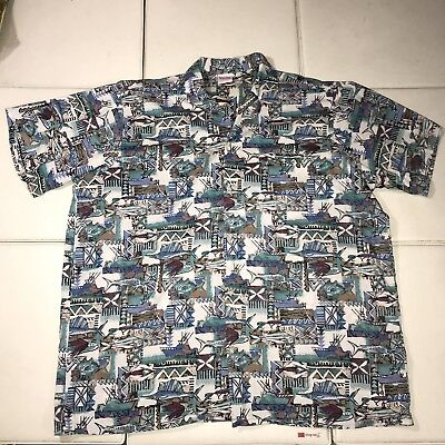 db57b4e8 B6 Vintage Hawaiian Shirt Mens 2XL Barefoot in Paradise Surf Sage Floral  Fish