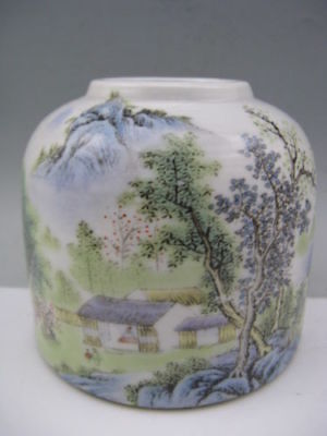 Chinese Hand Painted Landscape Porcelain Calligraphy Brush Washer**Free Shipping