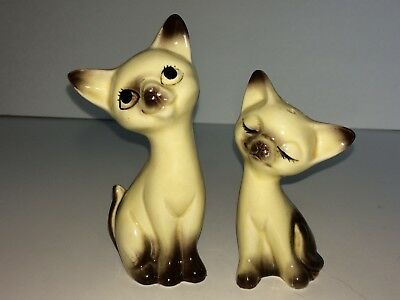 Vintage Porcelain Siamese Cat Salt & Pepper Shakers