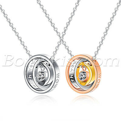 0bb2a60ce7 Mens Women Couples Stainless Steel Rhinestone Interlocking Ring Pendant  Necklace