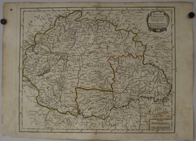 Hungary & Romania 1765 Pierre Bourgoin Unusual Antique Copper Engraved Map
